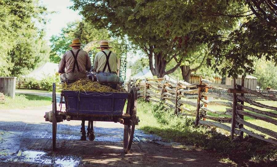 Farmers in a hay wagon.