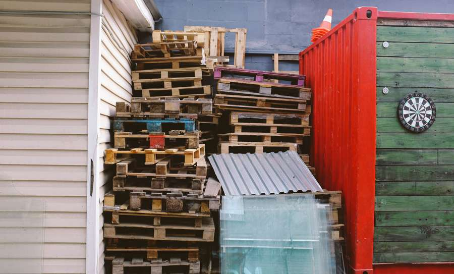 A stack of wooden pallets